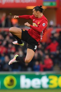 Zlatan Ibrahimovic of Manchester United celebrates scoring his sides second goal during the Premier League match between Swansea City and Manchester United at Liberty Stadium on November 6, 2016 in Swansea, Wales.