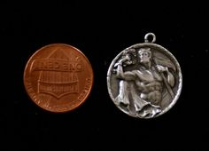 Sterling silver gladiator scene pendant medal coin TheVintEdge at etsy.com