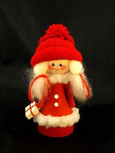 Swedish Girl Gnome, Elf w Christmas Gift Parcel Tomte Santa Claus, Wood Figurine, Xmas Vintage, 1970s Scandinavian Sweden Denmark Finland