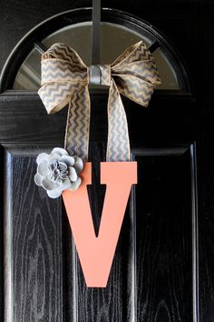 Monogram Wooden Letter with Chevron Burlap by J2HCreations on Etsy, $18.99
