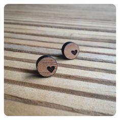 kookinuts 'My tiny heart' earrings wooden laser cut by kookinuts, $15.00