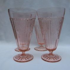 Mayfair Open Rose Pink Depression Footed Tumblers - Set of Four (4), offered by Ruby Lane Shop, Yesterdays.  #Mayfair #Depression Glass