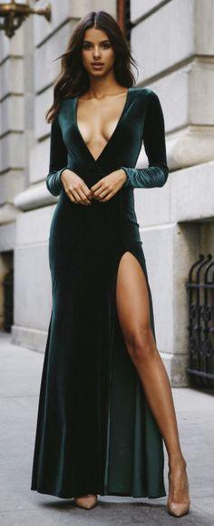 @roressclothes clothing ideas #women fashion emerald Velour Maxi dress
