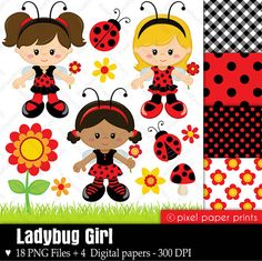 Ladybug+Girl++Digital+paper+and+clip+art+set+door+pixelpaperprints