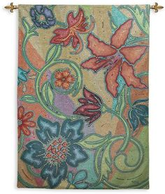 Impossible details breathe life into this Fine Art Tapestries Garden Party Mosaic Wall Tapestry . A garden masterpiece, the stylized floral pattern. Woven Wall Hanging, Tapestry Wall Hanging, Wall Hangings, Love Wall Art, Wall Art Decor, Wall Decorations, French Country Wall Decor, Country Decor, Textiles
