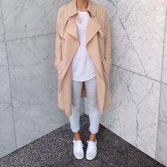 My style: Babaton drapy trenchcoat, Isabel Marant tshirt, Rag and Bone jeans, Veja Volley sneakers #sustainablefashion