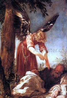 Hand-Painted oil painting reproduction of Escalante, Juan Antonio An Angel Awakens the Prophet Elijah 1667 for sale,museum quality painting, oil on canvas Angels Among Us, Angels And Demons, Raphael Angel, St Raphael, High Renaissance, I Believe In Angels, Angels In Heaven, Guardian Angels, Angel Art