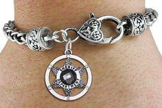 Sheriff Department Bracelet - Silver Bracelet w Austrian Crystal Silver Charm & Lobster Clasp