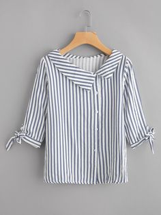 Preppy Button and Knot Striped Shirt Regular Fit Collar Half Sleeve Navy Vertical Striped Tie Cuff Blouse Source by daydaychic Blouses Kurta Designs, Blouse Designs, Blouse Patterns, Indian Designer Wear, Blouse Styles, Collar Styles, Diy Clothes, Blouses For Women, Ladies Blouses