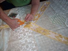 Cut the chasuble for your first step in learning how to sew a chasuble.