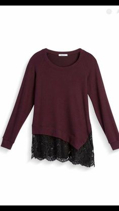 I love that this is a cozy knit and the color, asymmetry, and lace detail are gorgeous.