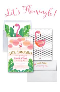 Flamingo Birthday Invitation // Let's Flamingle Invitation // Gold Glitter //  30th Birthday Party / Watercolor / COCONUT GROVE COLLECTION by MerrimentPress on Etsy https://www.etsy.com/listing/399086447/flamingo-birthday-invitation-lets