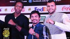 11/27/14 Via IPTL - International Premier Tennis League:  Gael Monfils and Jo-Wilfried Tsonga of the #IPTL. Look who joined us at the Gala dinner in Manila. World famous boxer Manny Pacquiao AKA Pac-Man!