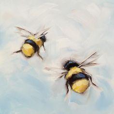 "Loving these little bees:) 5x5"" oil on panel. #laveryart #bees #beeart #beeartwork #etsy #dailypainting #brushstrokes #oilpainting #whismicalart #garden #nature"