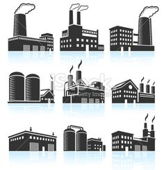 Factory Industrial Power Plant Buildings black & white icon set Royalty Free Stock Vector Art Illustration