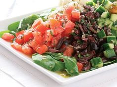 Chopped Greek Salad with Garlic Croutons - FineCooking Wheat Berry Salad, Crouton Recipes, Bread Salad, Roast Eggplant, Grilled Chicken Salad, Main Dish Salads, Lentil Salad, Roasted Peppers, Salad Recipes