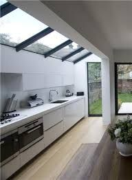 Image result for kitchen diner knock through narrow space