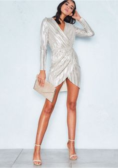 2f33aa20cd6 Sioban Gold Metallic Wrap Pleated Mini Dress Missy Empire Crepe Fabric