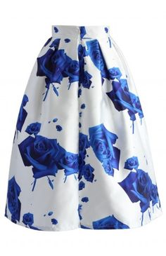 Blue Roses Printed Midi Skirt - Retro, Indie and Unique Fashion