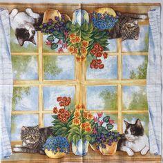 ZELDZAME Single één papieren servet kat is in door Dalilasdecoupage