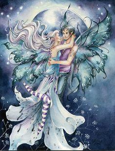Fairy art print Blue Moon paar liefhebbers dansen door Jannafairyart