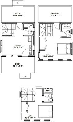 16x16 tiny house 16x16h22c 671 sq ft excellent floor plans - Drawing House Plans