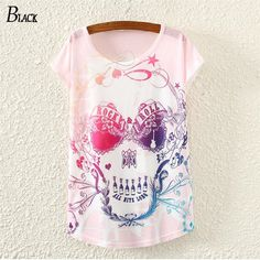 222da2fa45acf 15 harajuku summer style new women T shirts Pink Skull Punk Singlet Dress  Vintage short sleeve Pop Sexy Top long Tee T-Shirt