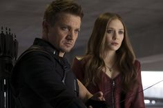 Marvel's Captain America: Civil War..L to R: Hawkeye/Clint Barton (Jeremy Renner) and Scarlet Witch/Wanda Maximoff (Elizabeth Olsen)..Photo Credit: Zade Rosenthal..© Marvel 2016