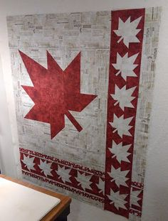 Testing my Canada quilt plan Small Quilt Projects, Quilting Projects, Quilting Designs, Sewing Projects, Quilting Tips, Sewing Ideas, Flag Quilt, Quilt Blocks, Canadian Quilts