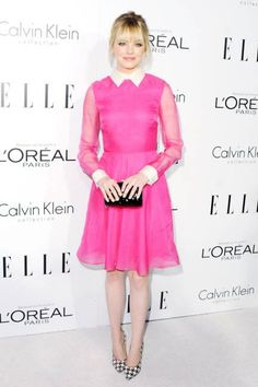 LOVE this hot #pink #Valentino #dress worn by #emmastone paired with those fun pointed #houndstooth heels! #womensfashion www.gmichaelsalon.com