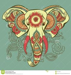 Vector Elephant On The Henna Indian Ornament Stock Vector - Image: 46172564
