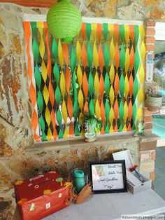 Luau Party decorations and gift table