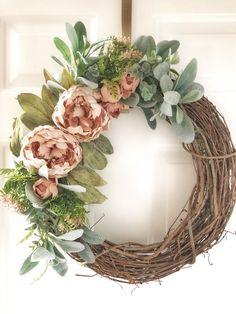 Spring Wreath~Spring Wreaths for Front Door~Peony Spring Wreath~Spring Door Wreath~Spring Decor~Wreath for for Front Door~Spring Decorations Spring Front Door Wreaths, Diy Spring Wreath, Diy Wreath, Holiday Wreaths, Grapevine Wreath, Tulle Wreath, Shabby Chic Wreath, Easter Wreaths, Farmhouse Décor