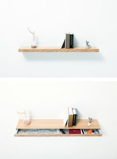 floating shelf with drawer // storage solutions