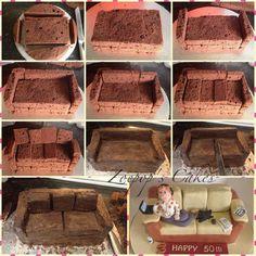Sofa Cake Tutorial - by Zoepop @ CakesDecor.com - cake decorating website