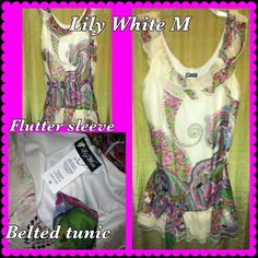 Beautiful Paisley Ruffle Belted Tunic M Super cute with some skinny jeans and bright heels for a pop of color. Multi color paisley ruffle tunic style belted top. NWOT never worn, but freshly laundered as it's been hanging around a whileLily White size Medium Lily White Tops Tunics