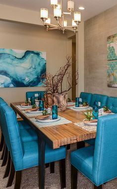 See what Taylor Morrison living is all about! #newhomes #Arizona #realestate #aqua #blue #interiordesign #diningroom #entertaining