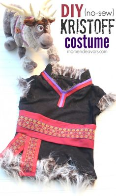 Finally! Something I can make for the boy in the family!  DIY Kristoff Costume Supplies:  •fitted black or charcoal gray t-shirt •1 sheet of black or charcoal gray stiffened felt •1 black or charcoal gray beanie/skull cap •1 large black pom pom (2″) •1/8 to 1/4 yard of fur (depending on how large the child is) •1/16 to 1/8 yard of maroon/dark fuschia fabric •maroon/dark fuschia ribbon (I used 5/8″) •purple ribbon (I used (3/8″) •1 to 1.5 yards of embellished ribbon •velcro •Heat 'n Bond…