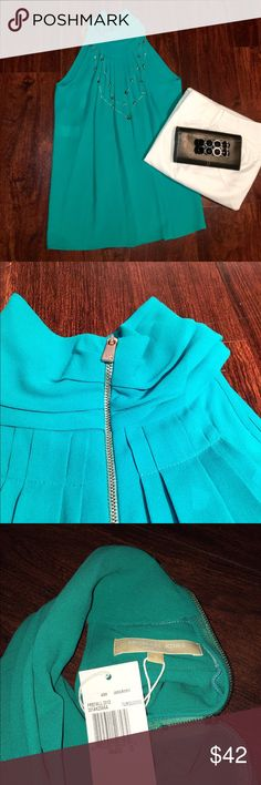 Michael Kors Turquoise Sleeveless Silk Top ✔️New With Tags ✔️100% Silk ☑️White Pants Available in My Closet Michael Kors Tops Blouses