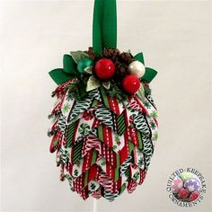 Green, Red & White Striped Pine Cone Ornament