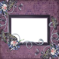 Purple Transparent Frame With Flowers and Butterflies