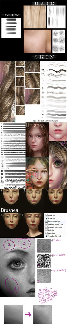 Skin & Hair Photoshop Brushes Pack + Textures