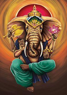 Make this Ganesha Chathurthi 2020 special with rituals and ceremonies. Lord Ganesha is a powerful god that removes Hurdles, grants Wealth, Knowledge & Wisdom. Arte Shiva, Shiva Art, Krishna Art, Hindu Art, Shri Ganesh, Ganesha Art, Elefante Hindu, Ganesh Tattoo, Spirituality