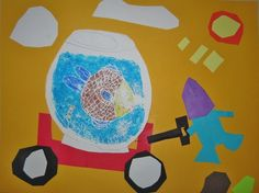 User-uploaded Content  Fish Bowl Relief Collage: Not Norman by Kelly Bennett, relief print using markers,  creating form, overlapping, collage, narrative.
