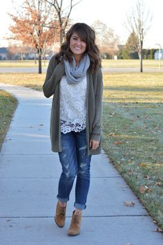 Earthy Tones--cream, gray, olive, with boyfriend jeans and booties