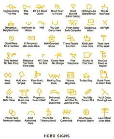 A list of different hobo signs that the homeless scrawl on buildings and such to communicate with each other. Interesting, if true.
