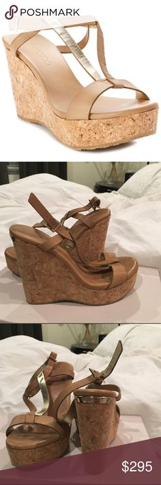 NEW Jimmy Choo Nude Wedge Sandals  Sz 36.5 Brand new Jimmy Choo Nude Wedges - Cork Heel -Sz 36.5    These have been worn in the house & appear to have been the floor model (tag on bottom & light mark from being tried on) Retail $495 Jimmy Choo Shoes Wedges