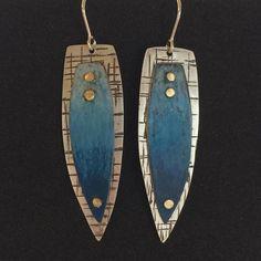 "26 Likes, 5 Comments - Kathryn Watne (@k_watne_enamels) on Instagram: ""Blue hombre #prismacolor on #copper riveted to textured #sterlingsilver #kwatneenamels…"""