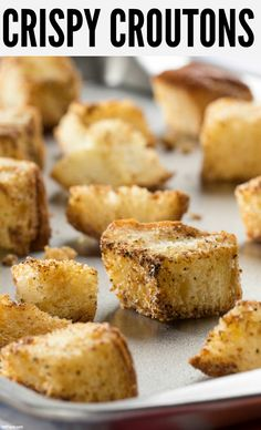 Don't throw away that stale bread! Use it to make Crispy Croutons perfect for topping your favorite salads and soups.