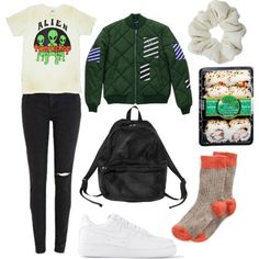 #polyvore #outfit #summer #fall #autumn #vintage #grunge #90's #oversize #black-wash #cut-offs #skinny jeans #denim #distressed #ripped #high-waisted #retro #bomber-jacket #patches #stripped #quilted #black #backpack #miss-matched #socks #grunge #90's #aliens #graphic #graphictee #t-shirt #white #sneakers #nike #Fred Perry #MANGO #NIKE #Monki #Topshop